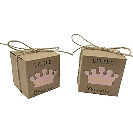 50pcs Candy Boxes Baby Shower Craft Paper Gift Box Little Prince Princess Party Favor Boxes Festive Party Supplies