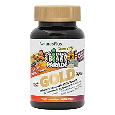 NaturesPlus Animal Parade Source of Life Gold Children's Multivitamin - Assorted, Cherry, Orange & Grape Flavours - Chewable Animal Shaped Tablets - Whole Foods, Gluten Free (Assorted, 60)