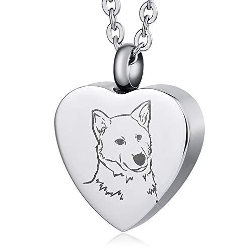 Beydodo Collar Colgante de Urna Collar de Acero Inoxidable con Corazón de Perro Collar de Ceniza...