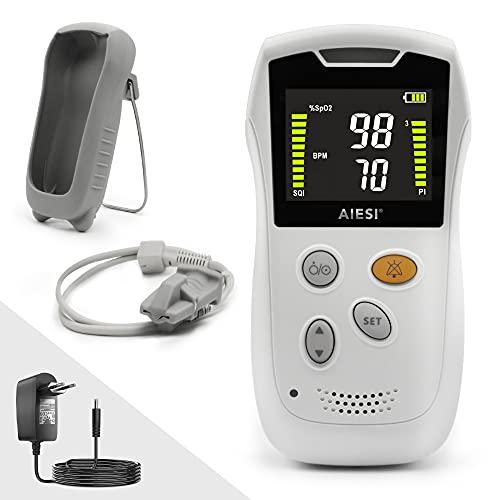 AIESI® Oxímetro de dedo Portátil profesional con pantalla a color y sonda anti-movimiento para adultos A3, Extremadamente preciso, Batería de litio, Carcasa de protección, Garantía 24 meses