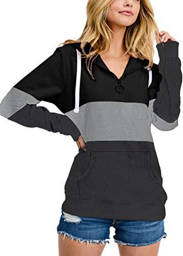 Sudadera de manga larga para mujer con cuello con cremallera y rayas