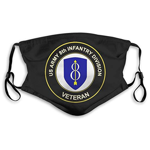 Army 8th Infantry Division Veteran Logo Bandanas for Men Face Scarf Neck Gaiter Pm2.5 with Filters S Black