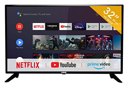 RCA RS32H2 Smart Fernseher(32 Zoll HD-Ready Android Fernseher mit Google Assistant,Google Play Store,Prime Video,Netflix) HDMI,USB,WiFi,Bluetooth,Triple Tuner(DVB-C/-T2/-S2)