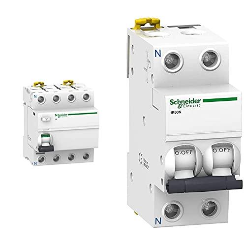 Schneider Electric A9R61440 Iid Interruptor Diferencial + A9K17625 Ik60N Interruptor Automático Magneto Térmico, 1P+N, 25A, Curva C, 78.5Mm X 36Mm X 85Mm, Blanco