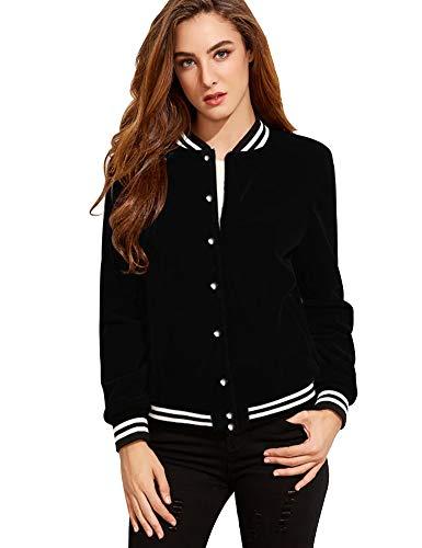 FV RELAY Women's Baseball Jackets Casual Varsity Velvet Short Coats Outwear (S,Black)
