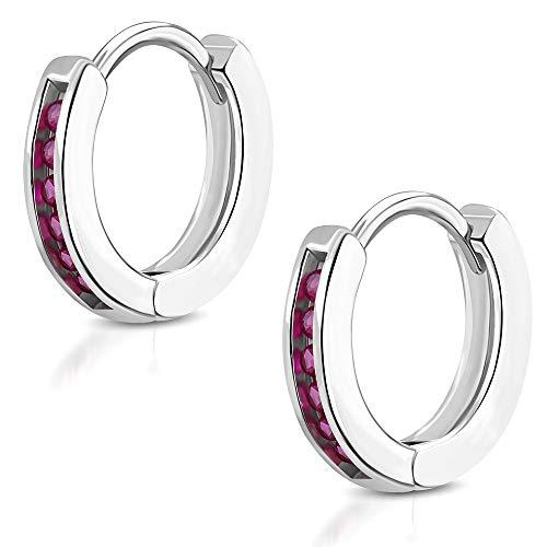 Tata Gisèle - Pendientes pequeños de aro de acero inoxidable plateado – 6 cristales rojos