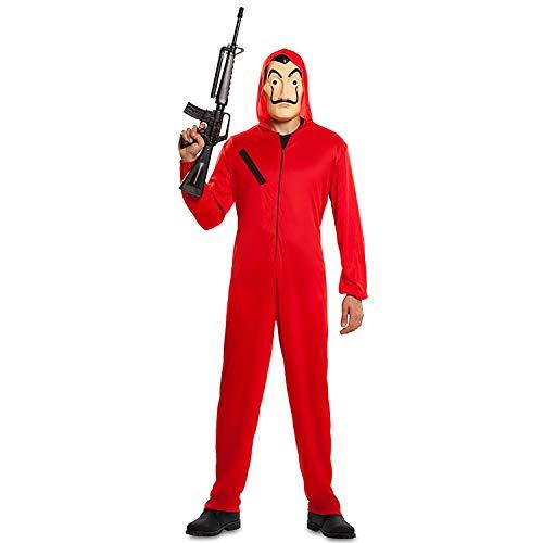 Cia- Mono y máscara para rapinador de papel original de la casa de papel (Talla S) Disfraz para adultos, color rojo, S, CS940106