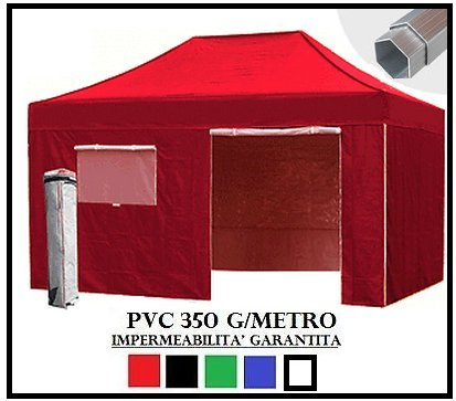 Tonnelle Pliante Rouge Aluminium hexagonale 40 mm 3 x 4.5 + 4 bâches latérales PVC 350 g mètre