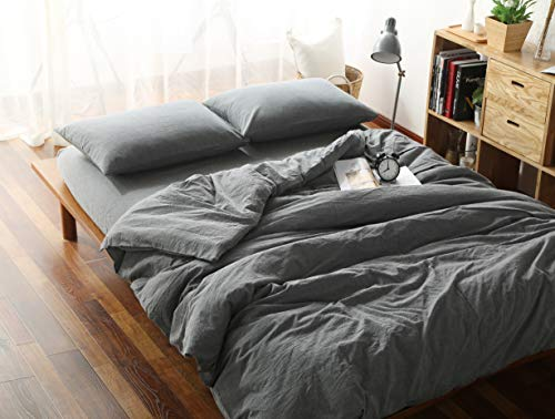 F.Y.Dreams 100% Washed Cotton Duvet Cover for Weighted Blanket 60x80 inches with 8 Ties, Zipper on Long Side/Grey/Just Duvet Cover