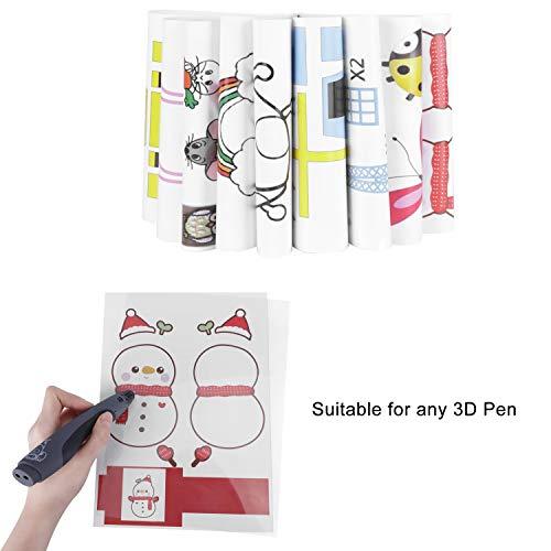 Starworld 3d-Schablonen, 3d, Bücher für Doodle-Muster, mit transparenten, Geschenk für Kinder (20VERSCHIEDENEN 40Blatt Muster, verschiedene Designs) - 4