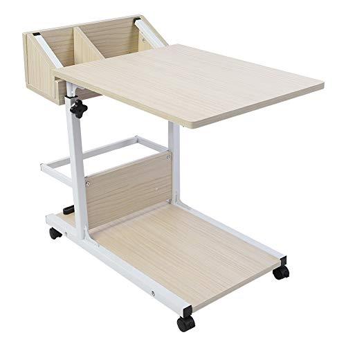Escritorio portátil multifuncional y extraíble para computadora portátil con ruedas, cajón, cama, sofá, libros, bocado(blanco)