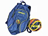 Club America Soccer Backpack + Size 5 Blue Soccer Ball Gift Bundle Official Licensed Soccer Bag with Ball Holder