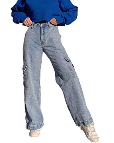 Minetom Damen Jeans Boyfriend High Waist Jeanshose Locker Lang Boyfriend Jeans Blau Weites Bein Hose Denim Straight Lässig Weich Pants B Blau Medium