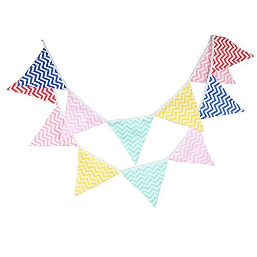 Arco iris Banderines , bandera de triángulo reutilizable para una decoración perfecta para baby shower y fiestas de cumpleaños 10.5 pies