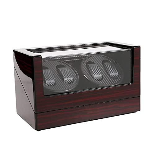 Caja enrolladora automática de relojes enrolladores de relojes de gama alta de madera enrolladora automática giratoria de relojes de doble cabezal Caja de almacenamiento de cuatro relojes de epítopo