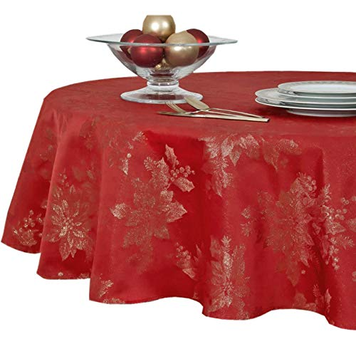 """Metallic Holiday Poinsettia Damask Christmas Holiday Fabric Tablecloth, Festive Easy Care Washable Holiday Tablecloth - 60"""" x 84"""" Inch Oval, Red/Gold"""