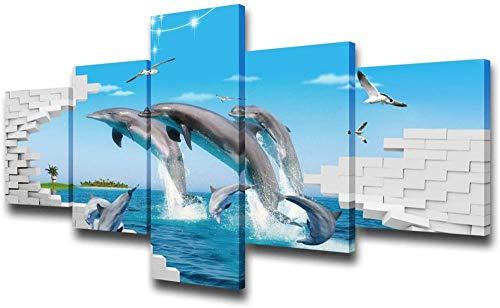 MWDDDEA® Wanddecoratie Met 5 Panelen Natuurlijke Zeegezicht Golf Dolfijn Springen De Muurschildering Foto Afdrukken Op Canvas (Geen Frame: 200X100Cm) De Afbeelding Voor Moderne Kunstwerken Voor Woonk