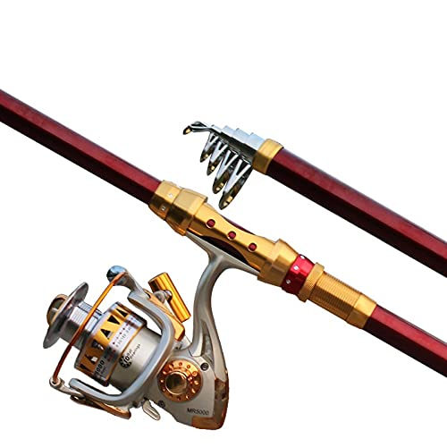 Pesca Rod Caña de Pescar y Carrete Combos Super Fácil de Transportar Pole de Pesca Varilla de Pesca telescópica de Fibra de Carbono telescópico caña de Pescar (Size : 2.7M)