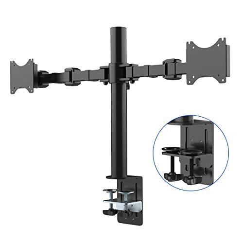 """Fleximounts D1D Monitorhalter Tischhalterung Standfuß mit 2 Armen für 2 Monitore 10""""-27""""(25-68cm) LCD LED TV Bildschirme Flachbildschirm, Belastbarkeit:10 kg/pro Monitor"""