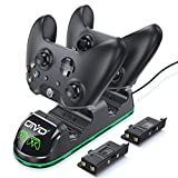 OIVO Xbox One Controller Charger, Dual Charging Station with Updated LED Strap, Remote Charger Dock for Xbox One/S/X/Elite Controller - 2 Rechargeable Battery Packs Included