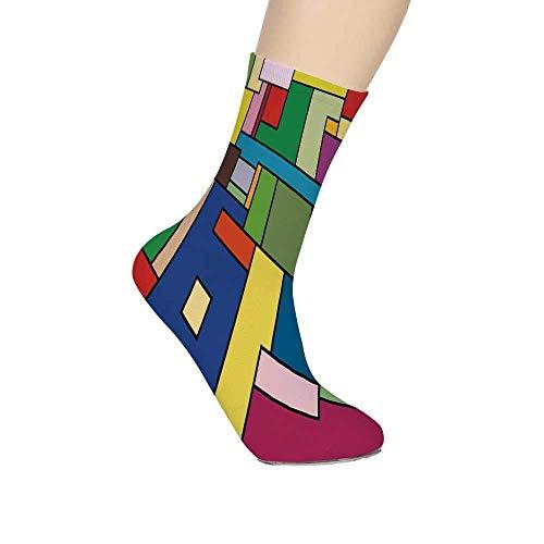 Preisvergleich Produktbild Art Soft Mid Calf Length Socks, Vivid Geometric Shapes Construct in Mondrianesque Manner Cubic Artwork Squares Lines Decorative Socks for Men Women