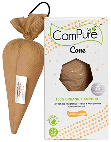 Mangalam CamPure Camphor Cone (Sandalwood) - Room, Car and Air Freshener & Mosquito Repellent (Pack Of 2)