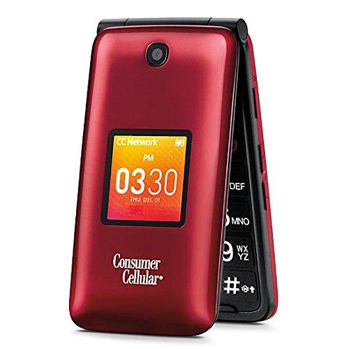 Consumer Cellular - Alcatel Go Flip 4044L 4G LTE 4G 2MP - Flip Phone - Red
