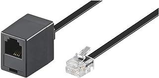 Goobay 68258 Modularanschlusskabel 15 Meter, Schwarz , RJ11/RJ14 Stecker (6P4C) auf RJ11 Buchse (6P4C)