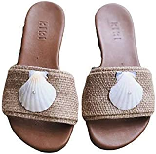 Kiki Boho   Seashell Sandals, sandalias artesanales de piel y yute hechas por artesanos mayas talla 3mx- 6us