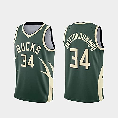 DIMOCHEN Movement Ropa Jerseys de Baloncesto para Hombres, NBA Bucks 34# Antetokounmpo, Fresco, cómodo, Camiseta Uniformes Deportivos Tops(Size:M,Color:G1)