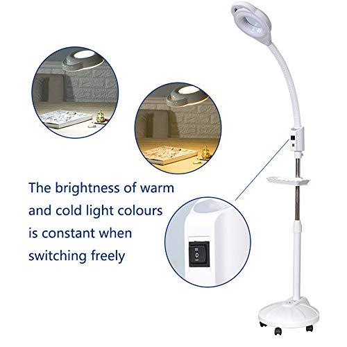 Magnifier Lamp LED Lupenleuchte 16X Tragbare Schönheitslampe LED Lupe Schattenlose Lampe Professionelle Einstellbare Hautpflege Tattoo Maniküre Schönheit Stehlampe (L Tropfen 60-172 cm) White-35W
