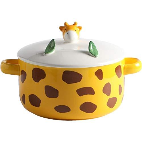 BIIII Tazón de fideos instantáneos de dibujos animados con tapa,Ensalada porcelana tazón con tapa,Binaural microondas seguro vajilla linda