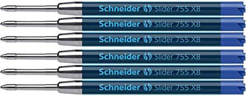Schneider Slider 755 Kugelschreibermine (ViscoGlide-Technologie, dokumentenecht, XB=Extrabreit) 6er Blisterkarte, blau