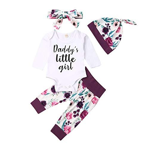 Geagodelia Babykleidung Set Baby Mädchen Langarm Body Strampler + Hose + Stirnband Mütze Kleinkinder Neugeborene Warme Babyset Kleidung Daddy's Prinzessin (0-6 Monate, Weiß & Lila 119)