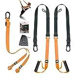 RHINOSPORT Sling Trainer Kit d'entraînement avec crochet de porte réglable Fitness à la maison – Convient pour les déplacements et pour l'entraînement en intérieur et en extérieur.