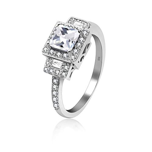 Uloveido Silver 925 Cushion Cut Cubic Zirconia Wedding Engagement Rings for Women,Square Cross Ring Gift for Graduation,Platinum Plated (3g, White, Size S) JZ102