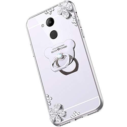 Saceebe Compatible avec Huawei Honor V9 Play Coque Élégant Bling Bling Housse Clear View Miroir Coque Brillante Diamant Paillette Strass Silicone TPU Étui Rotation Bague Support,Argent