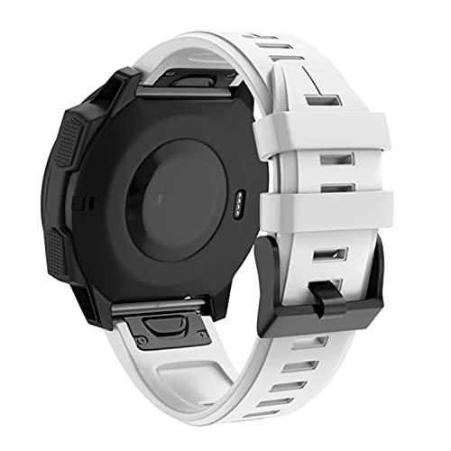 Flyuzi 26 22mm Silicona Silicona Reloje Reloj de Reloj de Reloj para Garmin Fenix 6X 6 6S Pro SmartWatch EasyFit Strap Strap Fenix 5X 5 5s (Color : H, Size : 26mm Fenix 6X Pro)