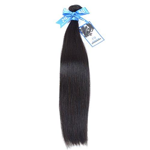 "JVH 100% Uprocessed Brazilian Straight Virgin Human Hair Extensions 1 Bundle Natural Black Color Lasting Silky look (26"")"
