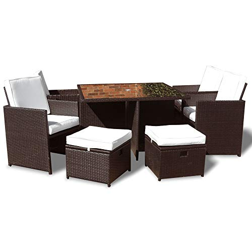 Roe Gardens Premium Rattan Dining Set, Cube 8 Seat Garden Patio Conservatory Furniture High Back Chairs, Storage Stools & Ice Bucket inc Rain Cover (Brown Rattan no Parasol)