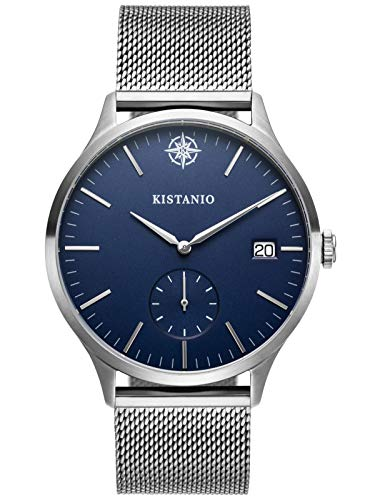 Kistanio herenhorloge Stratolis saffierglas staal blauw mesh met Milanese band KIS-STR-40-127