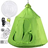 Happybuy Hanging Tree Tent, Max.440lbs Capacity Tree Tent Swing, Hangout Hugglepod with LED Rainbow Decoration Light Inflatable Cushion, Ceiling Hammock Tent Suit for Kids & Adult Indoor Outdoor Green