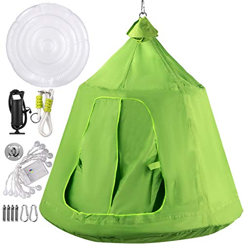 Hanging Tree Tent, Max.440lbs Capacity Tree Tent Swing, Hangout Hugglepod with LED Rainbow Decoration Light Inflatable Cushion, Ceiling Hammock Tent Suit for Kids & Adult Indoor Outdoor (Green)