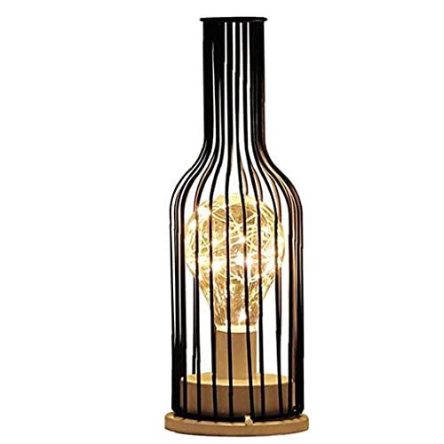 EElabper Lámpara de Escritorio LED Botella de Vino Tabla Luz Industrial Metal...