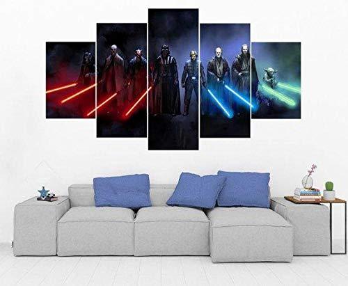 45Tdfc 200×100cmLienzo de Pintura 5 Piezas Jedi & Sith Star Wars- Luces de Colores Lienzo Pintura Pared Arte Imagen para Sala Moderna impresión Dormitorio