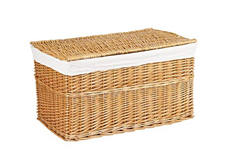 VIVANNO Truhe Wäschetruhe Korb aus Weide, Lea\', 80 cm, Honigfarbe