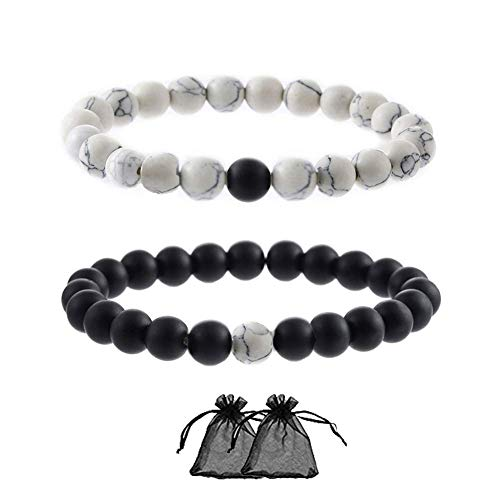 SwirlColor Distance Bracelet Black Matte Agate White Howlite Best Friends Relationship Couples Distance Beads - 2Pcs