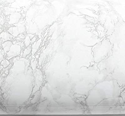 EZ FAUX DECOR Self-Adhesive Gray/White Roll Kitchen Instant Update Marble/Granite Contact Paper