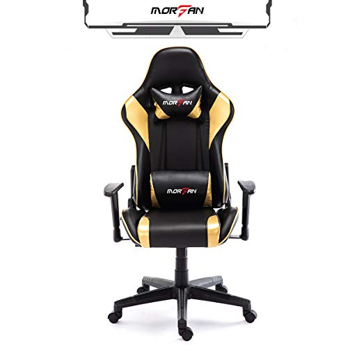 Morfan Swivel Office Gaming Chair PU Leather Racing Style Computer Chair & Lumbar Pillow with Massage F Series (Black/Gold) black chair gaming