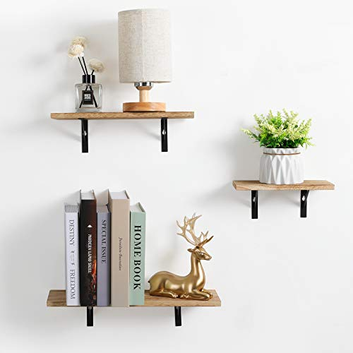 Haton Floating Shelves, Rustic Wood Wall Storage Shelves, Wall Mounted Decorative Display Shelves, Small Shelf Organizer Set of 3 for Living Room, Bedroom, Kitchen, Bathroom, Office
